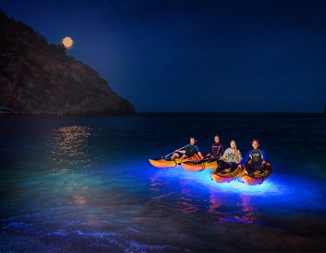 kayak javea de noche
