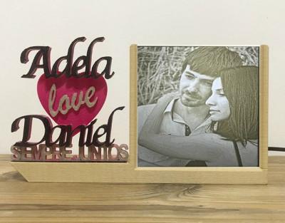 Lámpara Lovers Madera ¡Regala amor con foto personalizada!