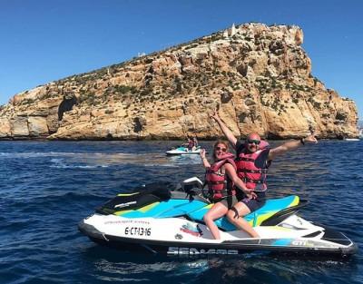 Excursión en moto de agua a la isla de Benidorm para 2 personas