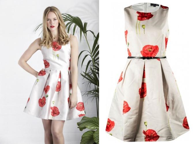 Vestido Smashed Lemon flores rojas