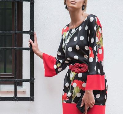 Vestido Rojo con lunares de la marca Lebasi