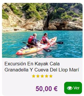 excursion kayak cala granadella javea